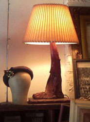 Graceful mid century wooden lamp